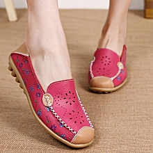 Fashion Floral Print Hollow Out Breathable Color Match Casual Slip On Flat Women Boat Shoes