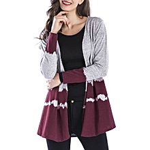 Open Front Two Tone Long Cardigan - WINE RED