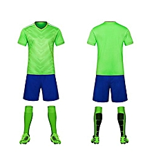 Green-High Quality Children Boy And Men's Football Soccer Team Training Sports Shirts And Shorts Jersey Set