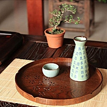 Hot Round Shape Solid Wood Tea Coffee Snack Food Meals Serving Tray Plate Restaurant Trays