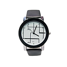 Analog Ladies Men Pu Leather Wrist Watch - Black