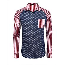 Men's Long Sleeve Striped Star Pocket Casual Button Down Shirt ( Blue )