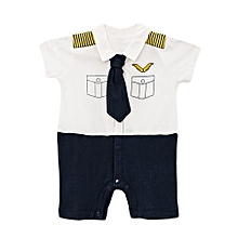Cute Baby Boy Toddler smart short Sleeve Boys Romper Jumpsuit with a tie with FREE SOCKS,