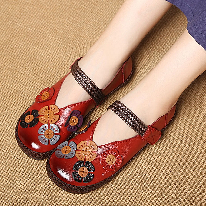 0edf9f29a45 Women Genuine Leather Single Flats Bohemian Loafers Pumps Flower Casual  Shoes