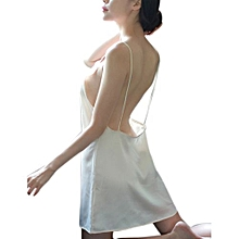Female Backless V-neck Pajamas Thin Shoulder Straps Mini Nightdress For Summer Color:champagne Color Size:M