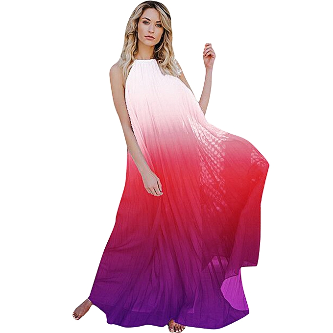 88bbdf3ac72aa1 Sexy Women Backless Maxi Dress Chiffon Ombre Pleated Sleeveless Halter Boho  Beach Tunic Dress