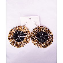 Round Maasai Heavy Beaded Choker Brown And Black African Lady Earring