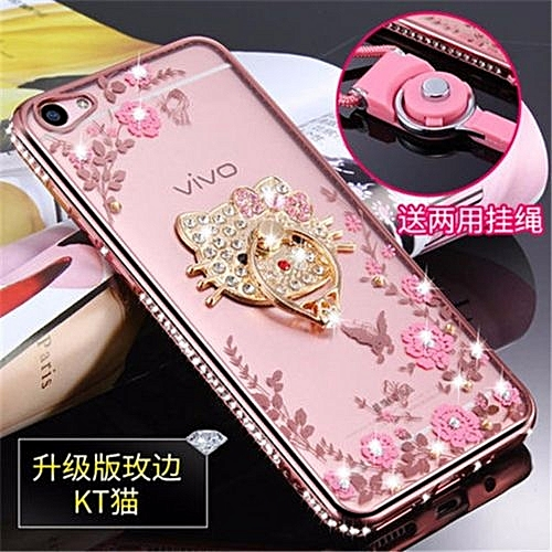 finest selection 8e8c9 94355 Luxury Rhinestone Phone Case Cover Holder Stand For Vivo Y55 Y55a Y55L  Protective Ultra-thin Silicone Soft Case(Multicolor-1)