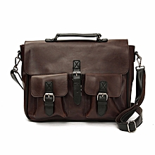 Men Leather Briefcase Backpack Messenger Shoulder Handbag Crossbody Laptop Bag Coffee