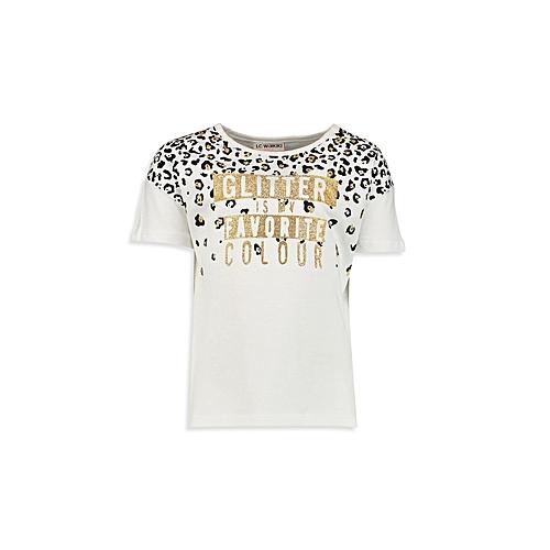 Cream white Printed Fashionable Standard T-Shirt