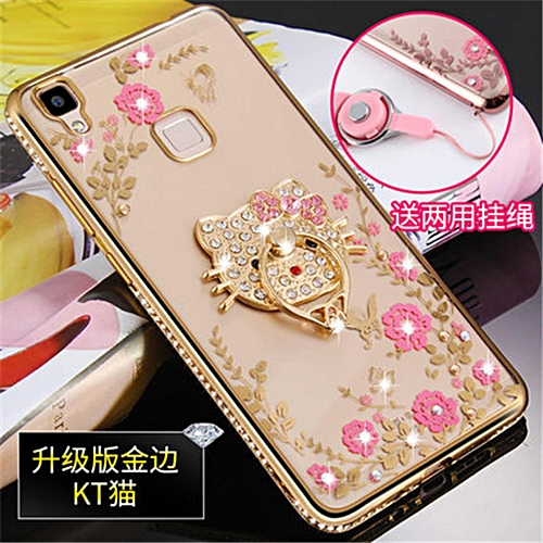 Luxury Rhinestone Phone Case Cover Holder Stand For Vivo V3max V3maxa Protective Ultra-thin Silicone