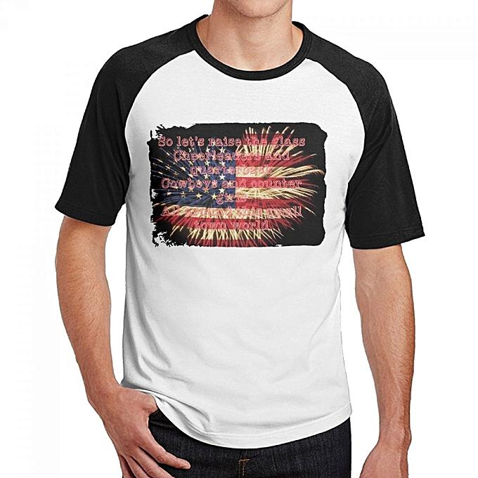 Jake Owen American Country Love Song Men's Cotton Short Baseball Raglan  Sleeves T-Shirt Black