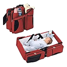 Baby Travel Bed & Magical Baby Bag- 4 in 1 Multifunctional Baby Travel Bed Cot Baby Bassinet and Diaper Bag - Red & Black