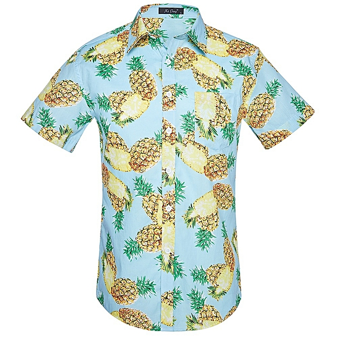 New Stylish Men Cotton Pineapple Printed Plus Size Short Sleeve Shirt bc838bfcf837