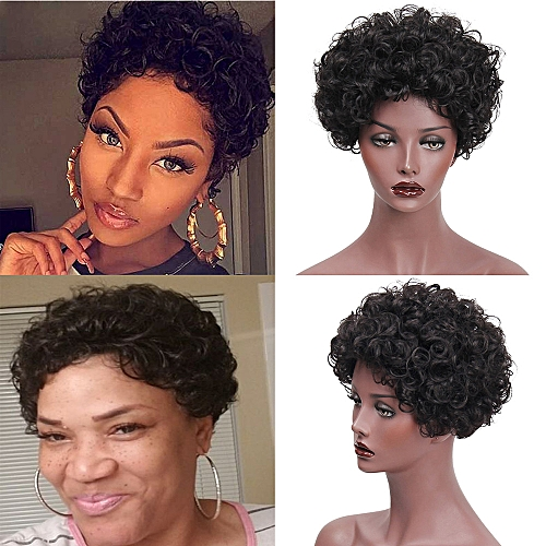 74341f0ac Fashion Synthetic Short Afro Curly Black Wig Pixie Cut Wig for Women with a  Free Wig Cap