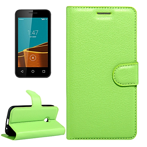 designer fashion 4e7a1 1bf7d For Vodafone Smart First 7 / VF200 Litchi Texture Horizontal Flip Leather  Case with Magnetic Buckle and Holder and Card Slots and Wallet(Green)