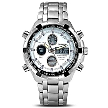Watches, QUAMER 165 Waterproof Watches Led Electronic Digital Watch Stainless Steel Band Men Wristwatch - Silver