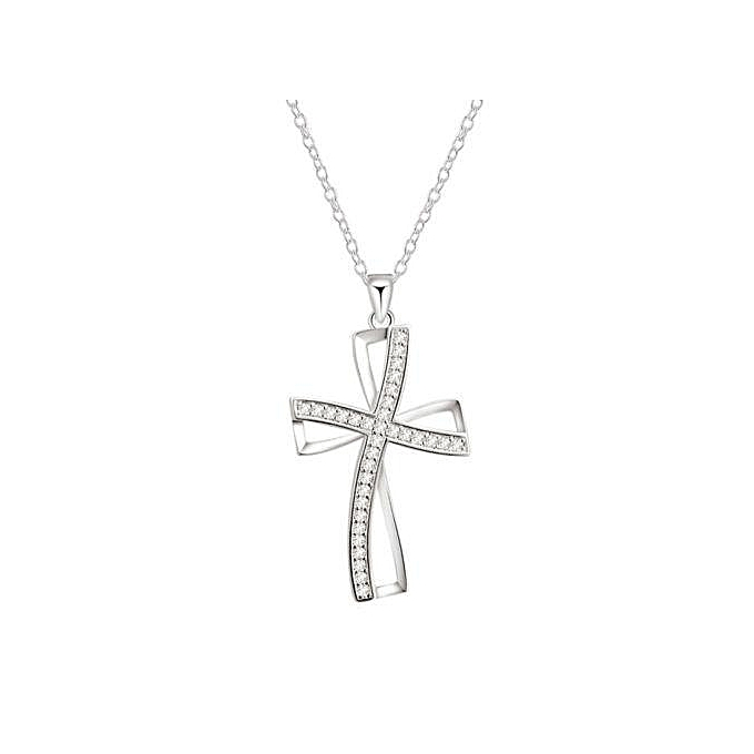 04f4e5089 Ladies Fashion Elegant Silver Plated Cross Pendant Chain Party Necklace