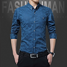 Cotton Slim Fit Office Formal Shirts Men Long Sleeve Business Shirts (Royal Blue)