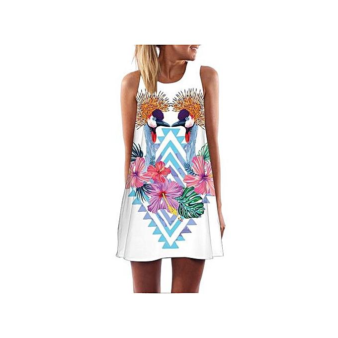 4c01f77e8c3c Hiaojbk Store Vintage Boho Women Loose Summer Sleeveless 3D Floral Print  Bohe Tank Mini Dress-