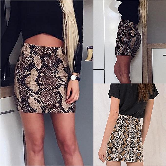 5436bb4045 jiahsyc store Fashion Women Casual Summer Ladies High Fashion Animal Print  Short Skirt