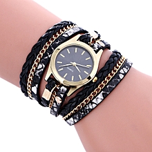 Bohemian Style Fashion Weave Leather Bracelet Lady Womans Wrist Watch - Black