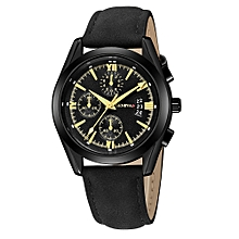 huskspo Luxury Quartz Sport Military Stainless Steel Dial Leather Band Wrist Watch