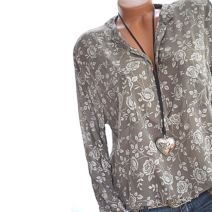 24f2b405835 New Fashion Women Blouse Vintage Floral Print V Neck Long Sleeve Casual  Loose Plus Size Shirt
