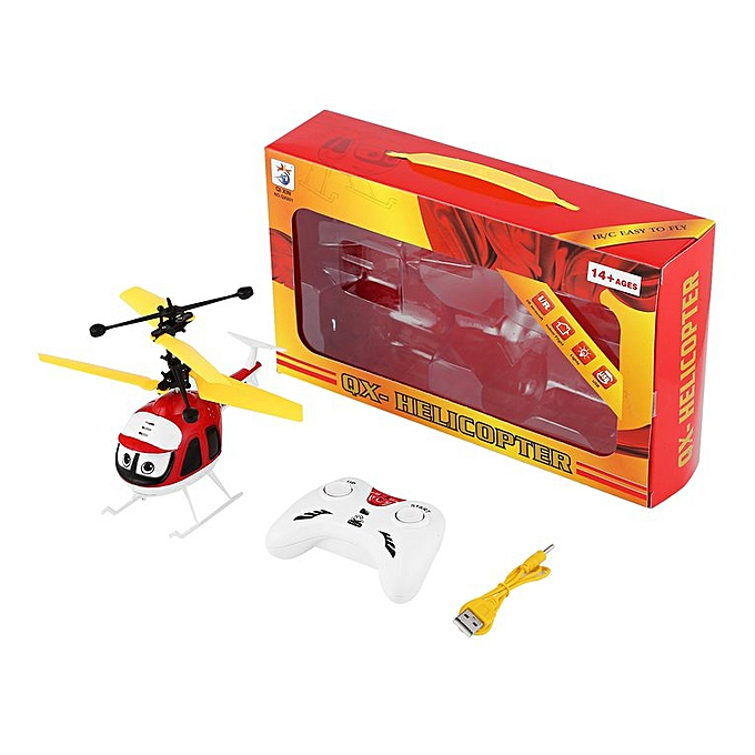 Induction Flying Toys RC Helicopter Cartoon Remote Control Drone Kid Plane  Toy Red
