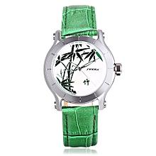 Female Quartz Watch Leather Strap Mineral Glass Mirror Plant Pattern Dial Wristwatch-GREEN