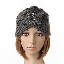 Women's Turban Soft Knit Headband Beanie Crochet Headwrap Knit Hat Cap Hairband Grey