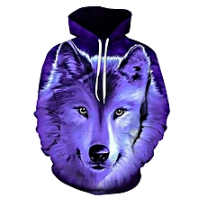 Purple 3D Wolf Print Hoodie Baseball Coat