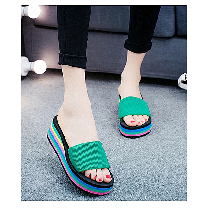 00b30e28c6bd ... Women Rainbow Flip Flops Sandals Summer Non-Slip Cool Slippers ...