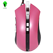 LUOM G60 Wired Nine Buttons Gaming Mouse Game Peripherals with LED for PC Laptop Computer ROSE MADDER