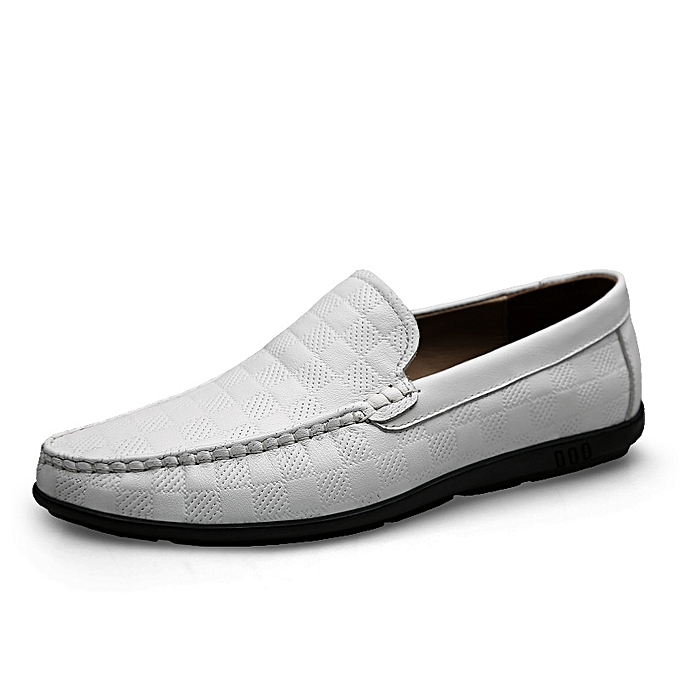 7dd86402af9e SocNoDn Mens Dress Genuine Leather Loafers Casual Flat Shoes White ...