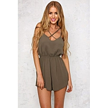 Fashion Women Crossover Strap Front Elastic Waistband Back Sleeveless Backless Button Clasp Playsuit XXS-XXL