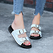 Generic Women Fashion Open Toe Leather Casual Slide-On Chic  Flat Sandals Slippers  A1