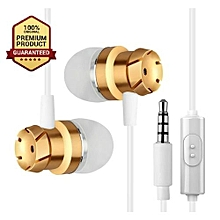 Earphones Super bass Clear sound Earphone woofer - White & Gold