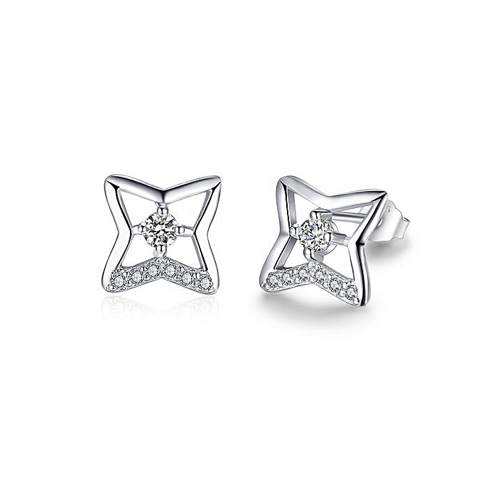 Trendy Hollow Cz Star Cross 925 Silver Stud Earrings