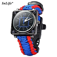 Inlife Outdoor Suvival Paracord Watch With Fire Starter Compass Whistle Rescue Bracelet-BLUE AND RED