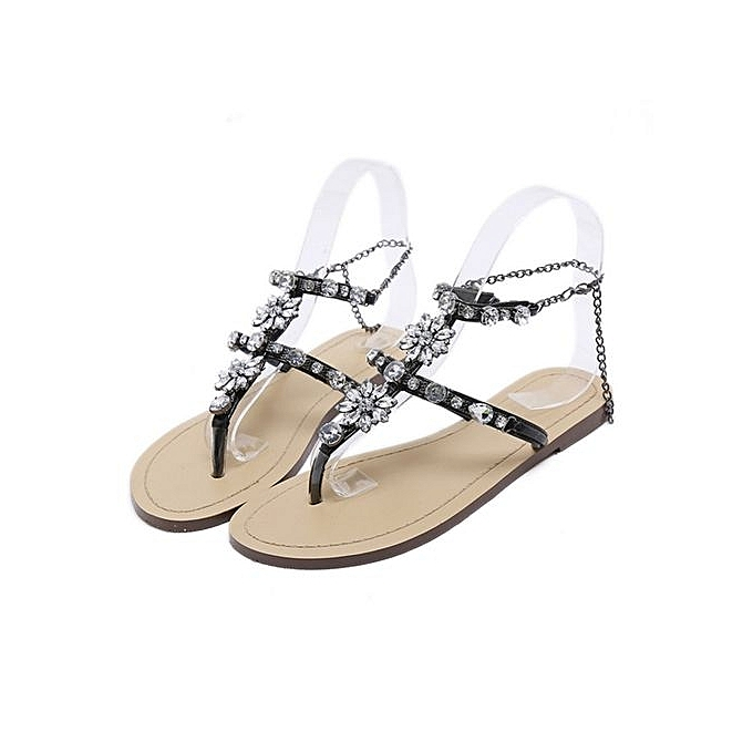 Women s Sandals Women s Shoes Rhinestone Chain Thong Gladiator Flat Sandals  Crystal Shoes - Black