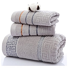 Grey 3Pc Set 100% cotton body, face and hand towel set for adults