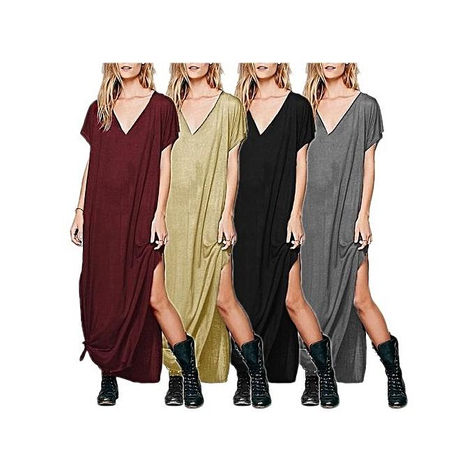 2978f2363b82 Celmia Womens Ladies O Neck Short Sleeve Loose Side Split Summer Beach Long  Maxi Dress Khaki