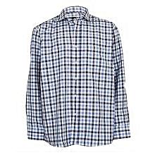 Dark Light Blue & White Checked Shirt