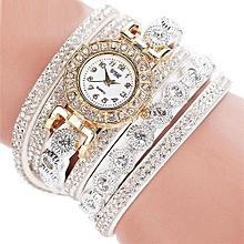 CCQ Women Fashion Casual Analog Quartz Women Rhinestone Watch Bracelet Watch White
