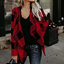 ZANZEA Women Casual Blazer Jacket Vintage Plaid Cardigan Plus Size Coat