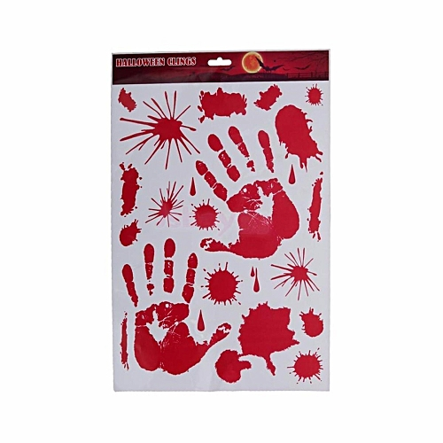 Bloody Handprint Window Glass Mirror Cling Wall Sticker Halloween Supplies