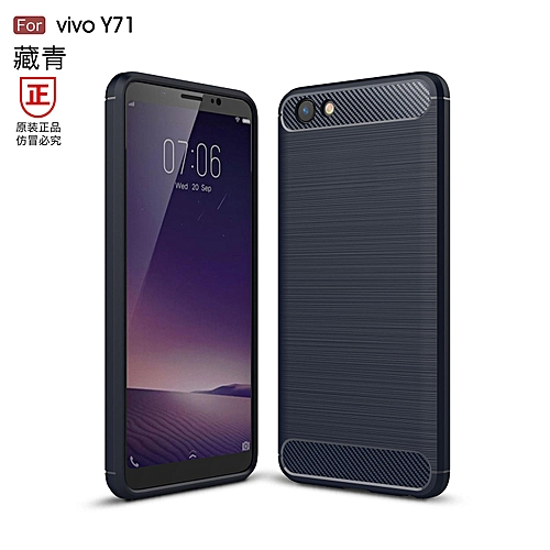 new products 8b316 b2241 For Vivo Y71 Case Shockproof Carbon Fiber Soft Anti-Knock Cover Case For  Vivo Y71 Casing 308020 (Blue)
