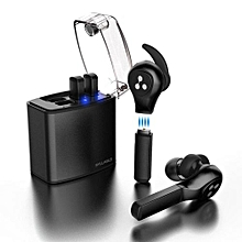 Wireless Earbuds, Bluetooth Headphones TWS Sports Sweatproof Earphones with Charging Case And 4 Replaceable 80mAh Batteries - Black
