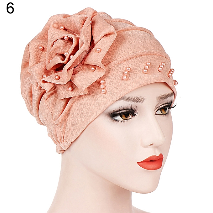 c478e0c07ef Fashion Flower Floral Beads Women Head Wrap Hat Turban Muslim Hijab  Gift-Pink